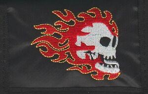 FLAME SKULL  Stitched Logo Nylon Chain Black Wallet Rock Merchandise