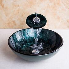 Bathroom Basin Tempered Glass Vessel Vanity Sink+Match Faucet Set+Drain tth75