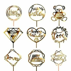 1 PC Acrylic Cake Topper Gold Flash Cake Topper Happy Birthday Party New Year De
