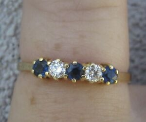 $ 1,550 Natural Sapphires Diamonds 18k Yellow Gold Ring or stacking band.