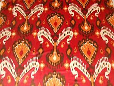 3.5Y new Schumacher Tashkent Velvet Ikat Persimmon colors large printed design