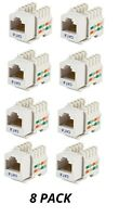 8x Cat6 RJ45 Network Keystone Jack Wall Plate Punch Down 110 Snap-In White
