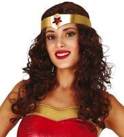 PERRUQUE Chatain DIADEME accessoire déguisement wonder woman NEUF super héro