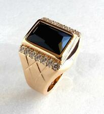 Size 9 R Fashion Mens 18K Yellow Gold Plated Simulated Diamond Black Luxury Ring