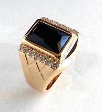 Tamaño 9 R De Moda Para Hombre enchapado en oro Amarillo 18K Diamante Anillo Negro de Lujo simulado