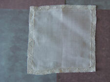 Ladies Hankie Antique Sheer Linen Made In French 8.5 sq lace very light