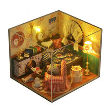 Kits DIY Wood Dollhouse miniature with LED+Furniture+cover Doll house room