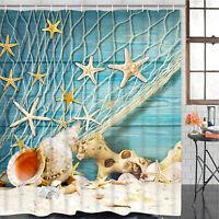 12 Hooks Shower Curtain Childlike Blue Sea Seashell Curtains Bathroom Home Decor
