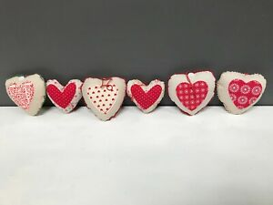 Gisela Graham Small Red Cream Fabric Floral Hanging Padded Heart Decorations