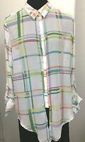 LIZ CLAIBORNE Women's Shirt Blouse Striped Button Down Long Sleeve Size Large.
