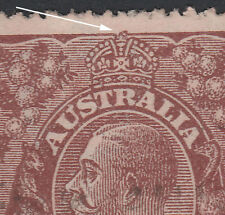 KGV - 1½d BROWN - BW85(10)i - NO TOP TO CROWN - Single Wmk - FU - Flaw Variety