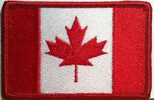 CANADA Flag Embroidered Iron-On Patch Morale Canadian Military Emblem Red Border