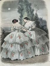 Antique French hand coloured plate from 1856 Les Modes Parisiennes,#702 Romantic