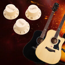 3Pcs Guitar Strat 1-Volume 2-Tone Knobs Cream Control Replace Switch Button Cap