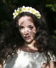 Jaune & blanc Plumeria Cheveux Fleur Serre-tête Couronne frangipanier Plage nuptiale X-92