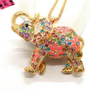 Hot Betsey Johnson AB Rhinestone Colorful Thai Elephant Crystal Pendant Necklace