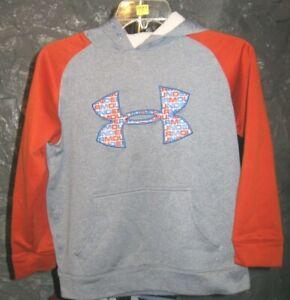 Under Armour Classic Gray & Orange Under Armour Youth Medium Hooded Sweatshirt