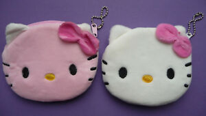 HELLO KITTY Plush Girls Childrens Zip Coin Purse 2 colours pink white Cute NEW