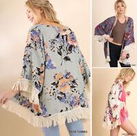 UMGEE Floral Print Kimono Cardigan Fringe Trim Boho Jacket Hippie Gypsy Loose