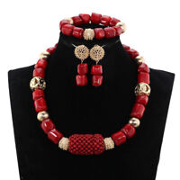 18 Inches Red Real Coral Beads Necklace African Women Wedding  Party Jewelry Set
