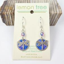 Nickle Disc Earrings Blue Floral Print Dragonfly Charm Lemon Tree Sterling Hook