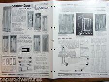 1954 LEHMAN Custom Etched Glass SHOWER Doors RETRO BATHROOM Deco Vintage Catalog