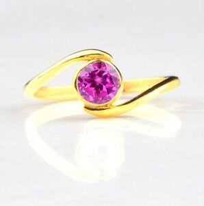 Natural Pink Tourmaline 1.30 Carat Round Shape Solitaire Ring In 14KT Real Gold