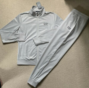 Ladies Armani EA7 Silver Grey Poly Tracksuit.100%Authentic. Size Large