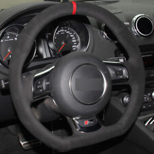 DIY Steering Wheel Cover Black Suede Hand Sewing For Audi TT 2008-2013