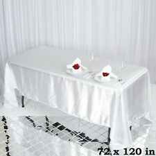 "1 pc White 72x120"" RECTANGLE Satin TABLECLOTH Wedding Party Banquet Linens SALE"