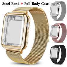for Apple Watch 5/4/3/2/1 Steel Band with Screen Protector Case 38/40/42/44mm