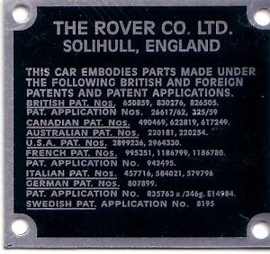 Land Rover Series 1 2 2a Bulkhead Patents Chassis Information Plate replacement