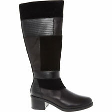 CLARKS NEVELLA NOVA Knee Length Black Leather Boots size UK 3 / EU 35.5 rrp £110