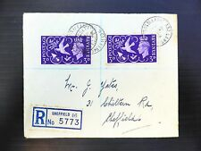 """GB 1946 Victory 3d on Registered Cover with """"Seven Berries"""" Variety SG492a NB402"""
