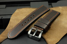 24mm Genuine Dark Brown Cow Leather Band Strap + Black Clasp for Panerai Watch