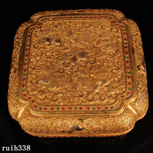 """10"""" China  Qing Dynasty  Pure copper gilt silver  carving  set  Gem  Jewelry box"""