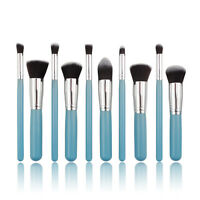 Professional 10pc Blue MakeUp Soft Face Powder Contour Eye Blending Brushes Set
