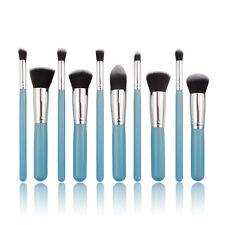 Maquillaje Profesional 10pc Azul Suave Polvo Facial Contorno De Ojos Mezcla Conjunto de Pinceles