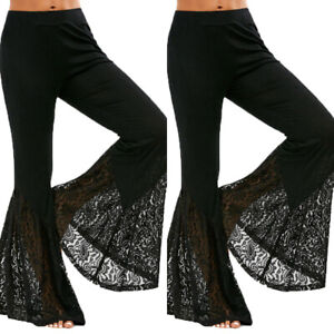 Women Elastic Lace Flared Pants Bell Bottoms Trousers Baggy Summer Puse Size