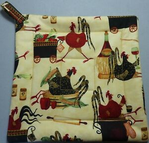 Deluxe Hot Pad/ Pot Holder: CHICKENS: CHICKS IN CHARGE: Cream/ Red: Quilted