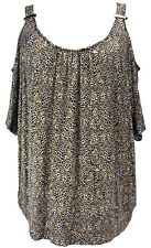 Thalia Sodi Leopard Brown Black & Cream Cold Shoulder Blouse Sz XXL 2XL