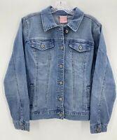 Laurie Felt Womens Medium Classic Denim Jacket Light Wash Trucker Style NWT