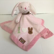 Blankets And Beyond Pink Bunny Security Blanket Polka Dot Satin Lovey Heart