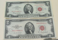 3=2+1 Rare Big Sale: 2 Red Seal $2 Bills(One1953 & One1963) +1 Old Cent Us Coin!