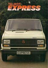 Talbot Express 1982-84 UK Market Launch Foldout Sales Brochure Van Chassis Cab