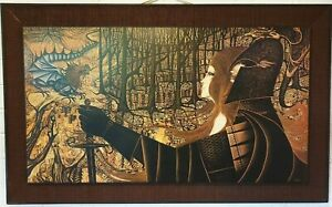 """Large Vintage 1970s George and The Dragon by E Baker 27x43"""""""