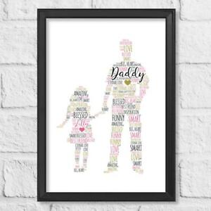 Personalised Father Child Print Birthday Gift Dad Daughter Husband Fathers Day
