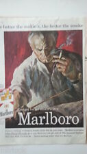 1959 Marlboro Red Cigarettes Conductor Sheet Music Tattoo Hand Color Original Ad