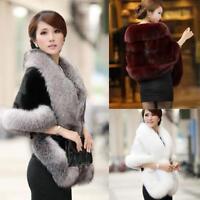 Winter Women Warm Faux Fur Coat Shawl Cape Scarf Elagant Ladies Coat Jacket