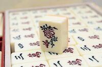 Mahjong Set Vintage Carved Plastic Chinese Mah Jong Jongg Game Vintage